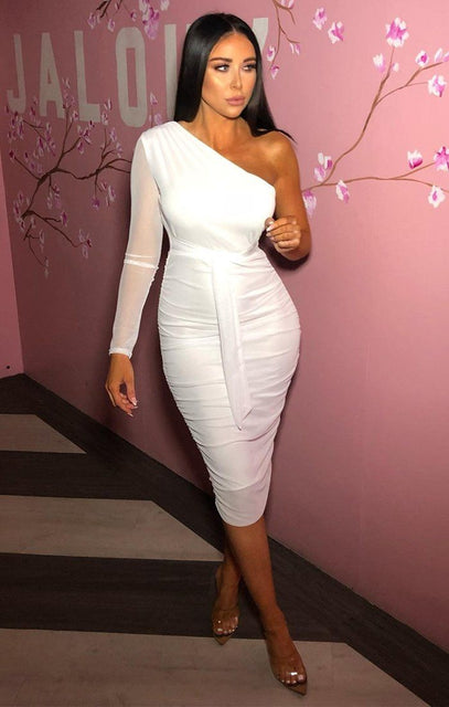 White One Shoulder Mesh Sleeve Midi Dress - Maci