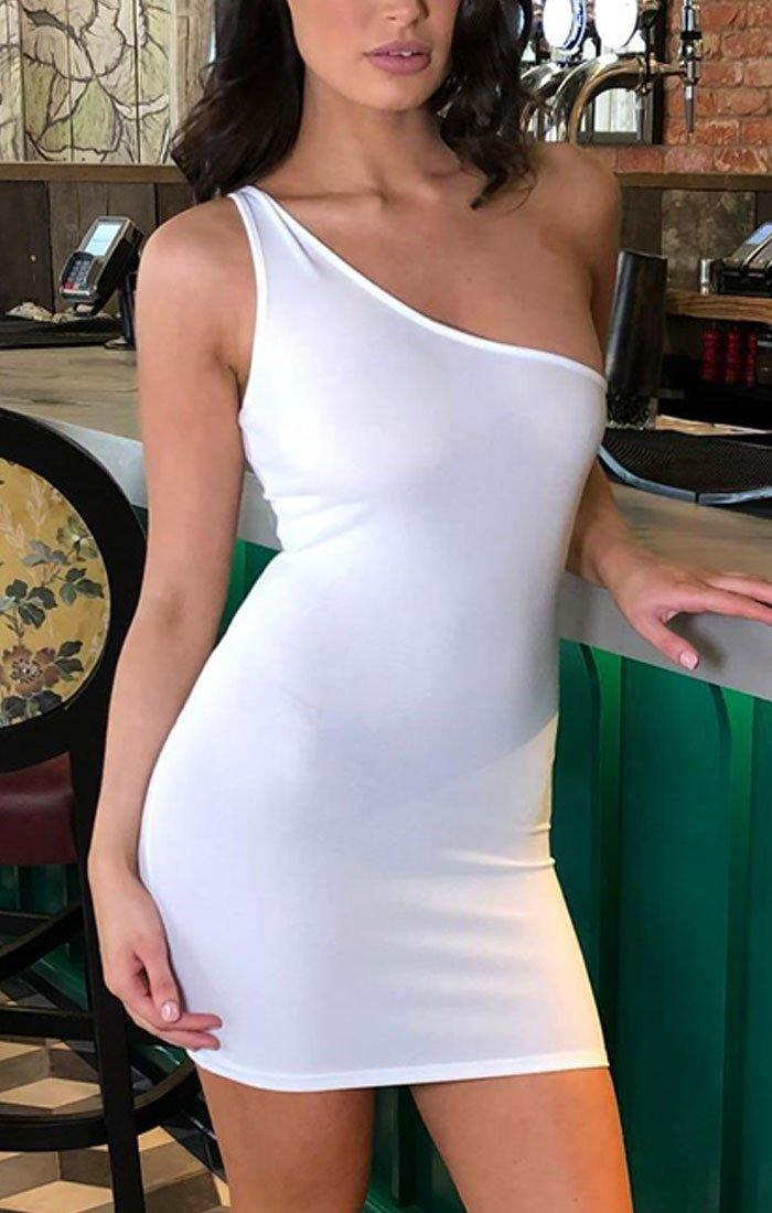 White One Shoulder Mini Dress - Olivia