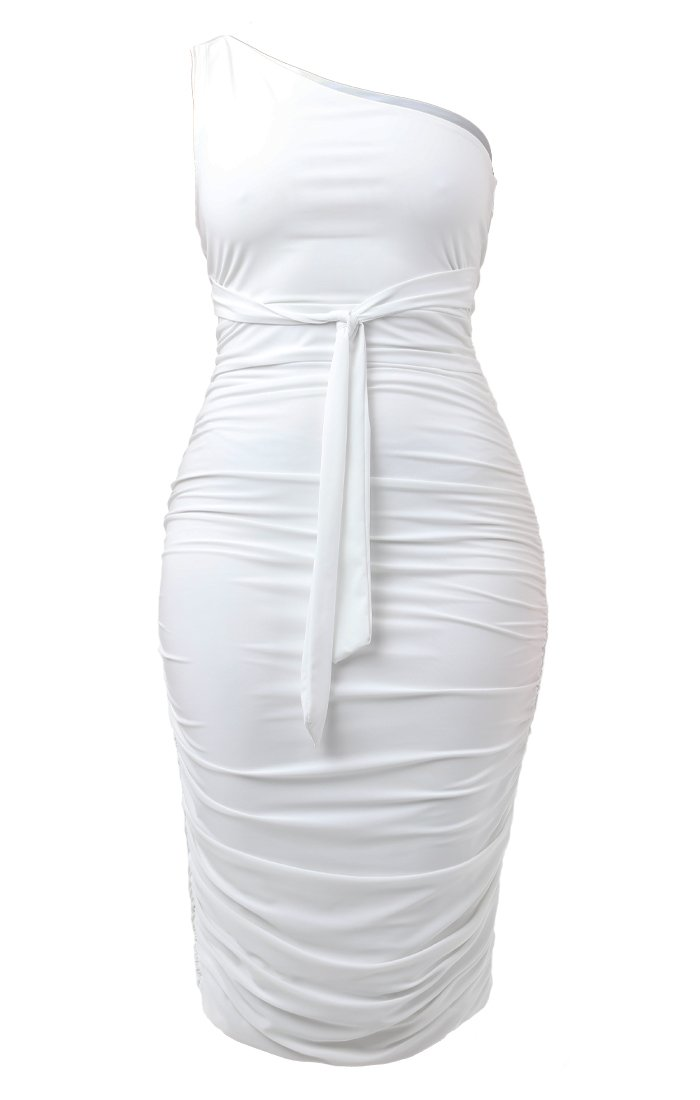 White One Shoulder Slinky Midi Dress - Dylan