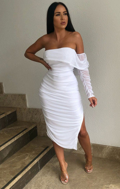 White One Sleeve Split Side Bodycon Midi Dress - Luna
