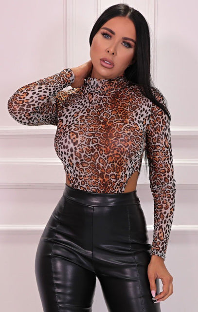 White & Orange Leopard Print High Neck Mesh Bodysuit - Macy