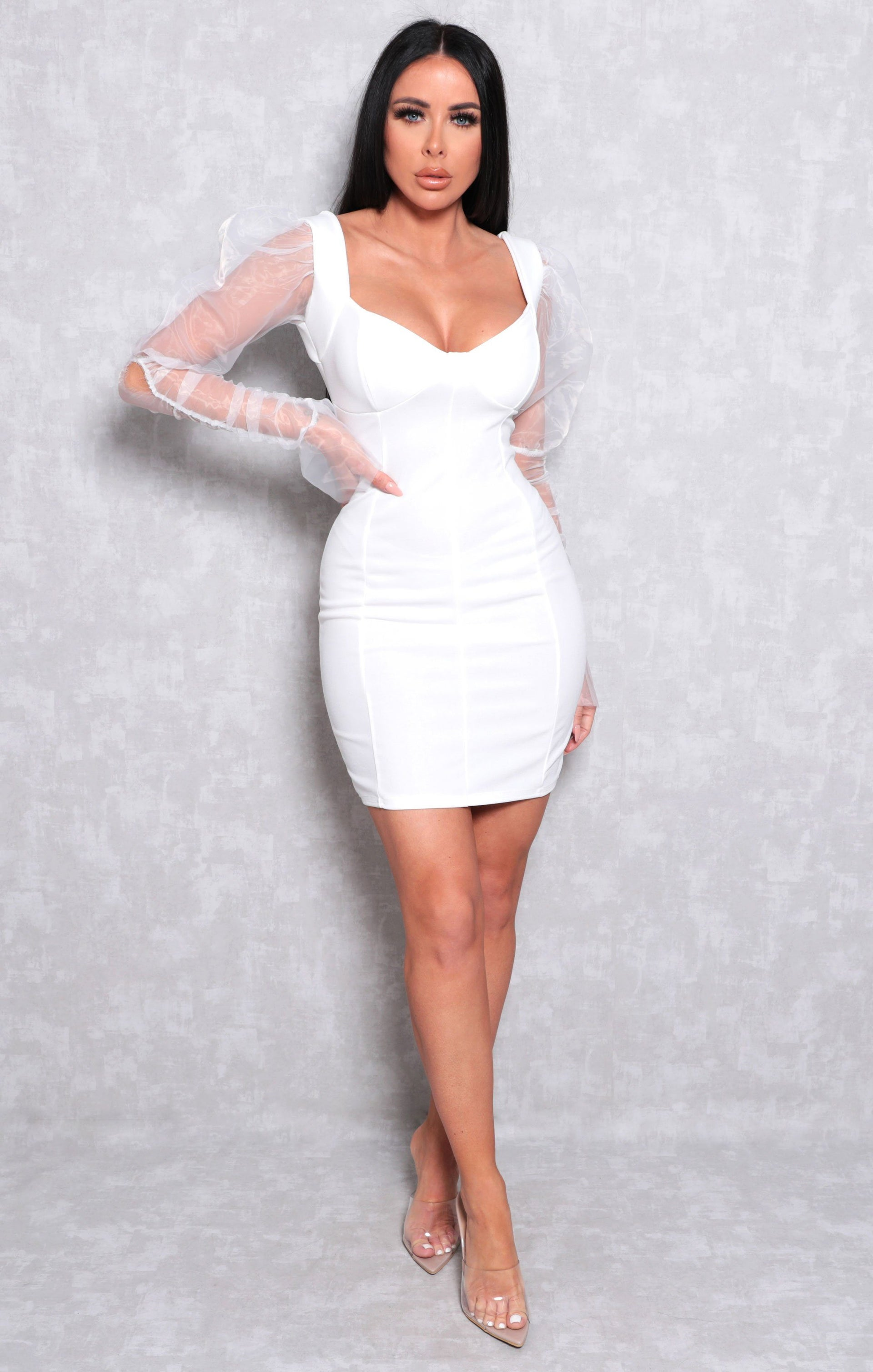 White Organza Mesh Sleeve Bodycon Mini Dress - Theresa