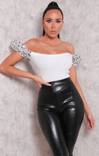 White Organza Polka Dot Puff Sleeve Crop Top - Megan