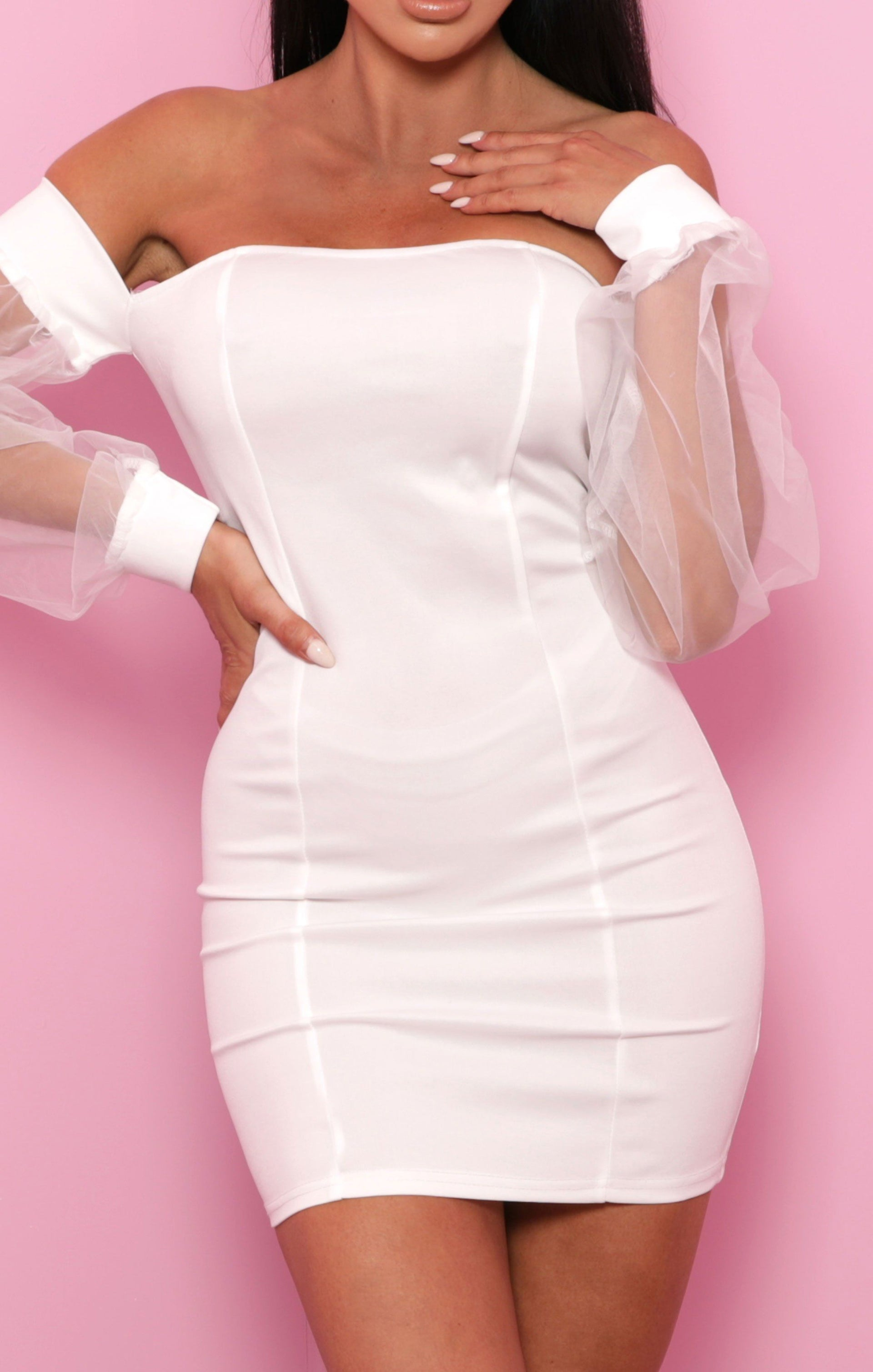 White Organza Sleeve Bardot Bodycon Mini Dress - Beatrice