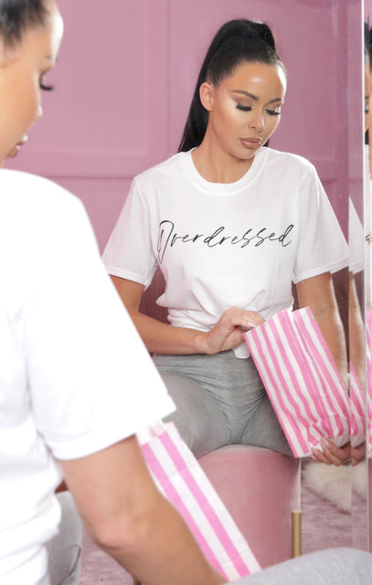 White 'Overdressed' Oversized T-Shirt - Lilian