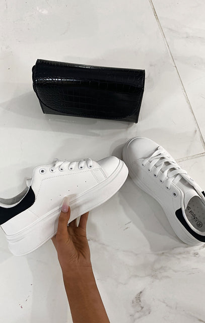 White Oversized Black Velvet Platform Trainer - Maria