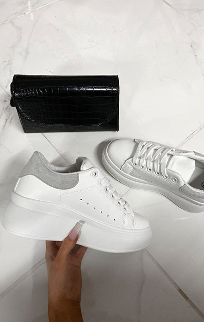 White Oversized Grey Velvet Chunky Sole Trainer - Meghan