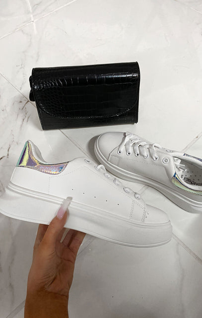 White Oversized Holographic Chunky Sole Trainer - Meghan