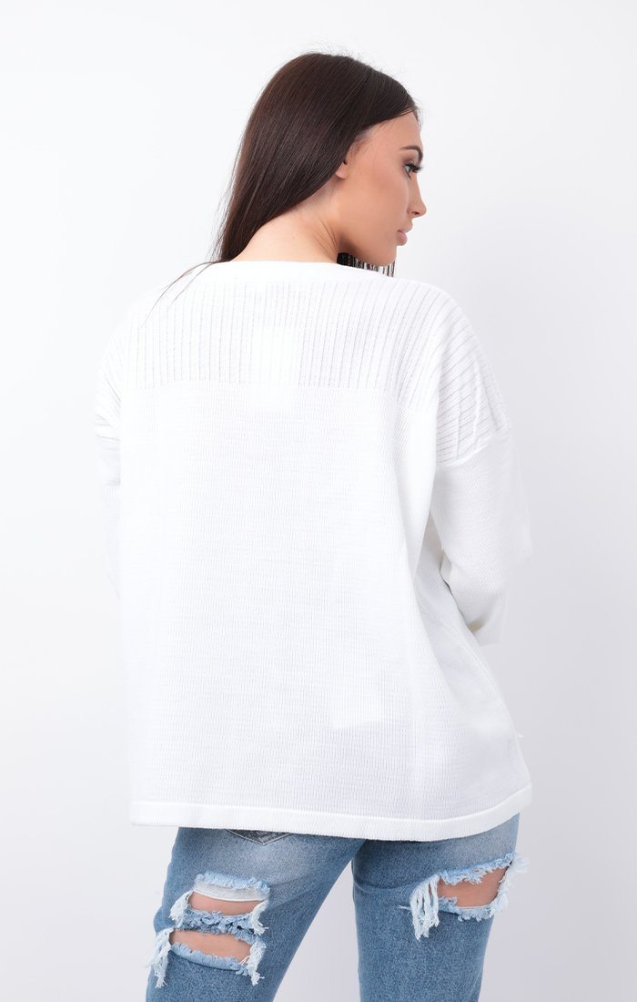 White Oversized Knit Jumper - Hetty