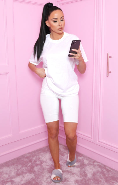 White Oversized T-Shirt & Cycling Shorts Co-ord - Zora