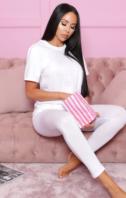 White Oversized T-Shirt & Leggings Loungewear Set - Everleigh