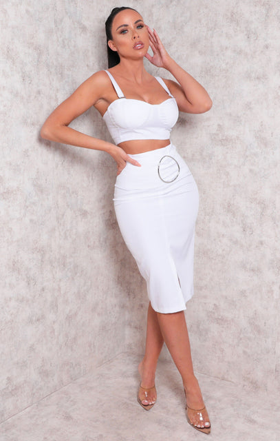 White Padded Crop Top Split Midi Skirt Co-ord - Dala