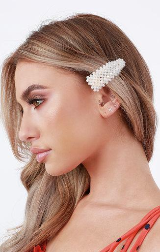 White Pearl Hair Clip - Lucy