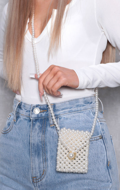 White Pearl Mini Pouch Bag - Abina