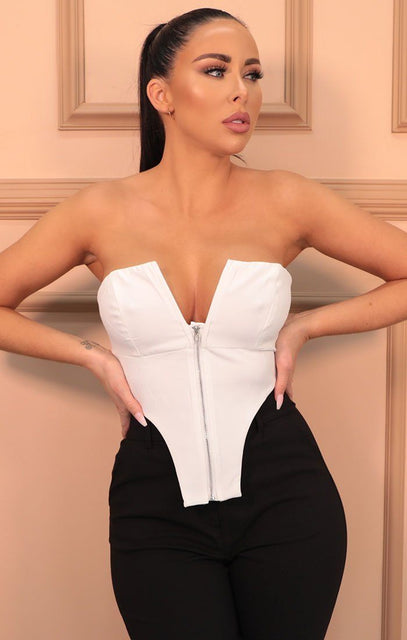 White Plunge Deep V Neck Zip Up Crop Top - Giselle
