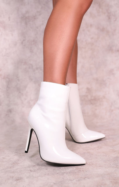 White Pointed Toe Stiletto Heel Boots - Falco