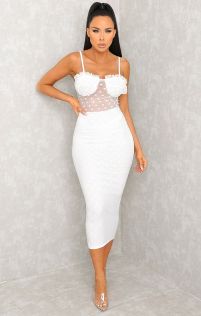 White Polka Dot Mesh Strappy Midi Dress - Sophia