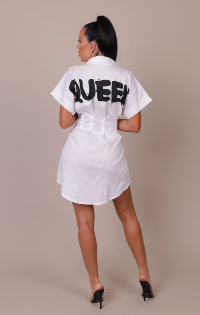 White 'Queen' Slogan Print Button Up Shirt Dress - Ciara