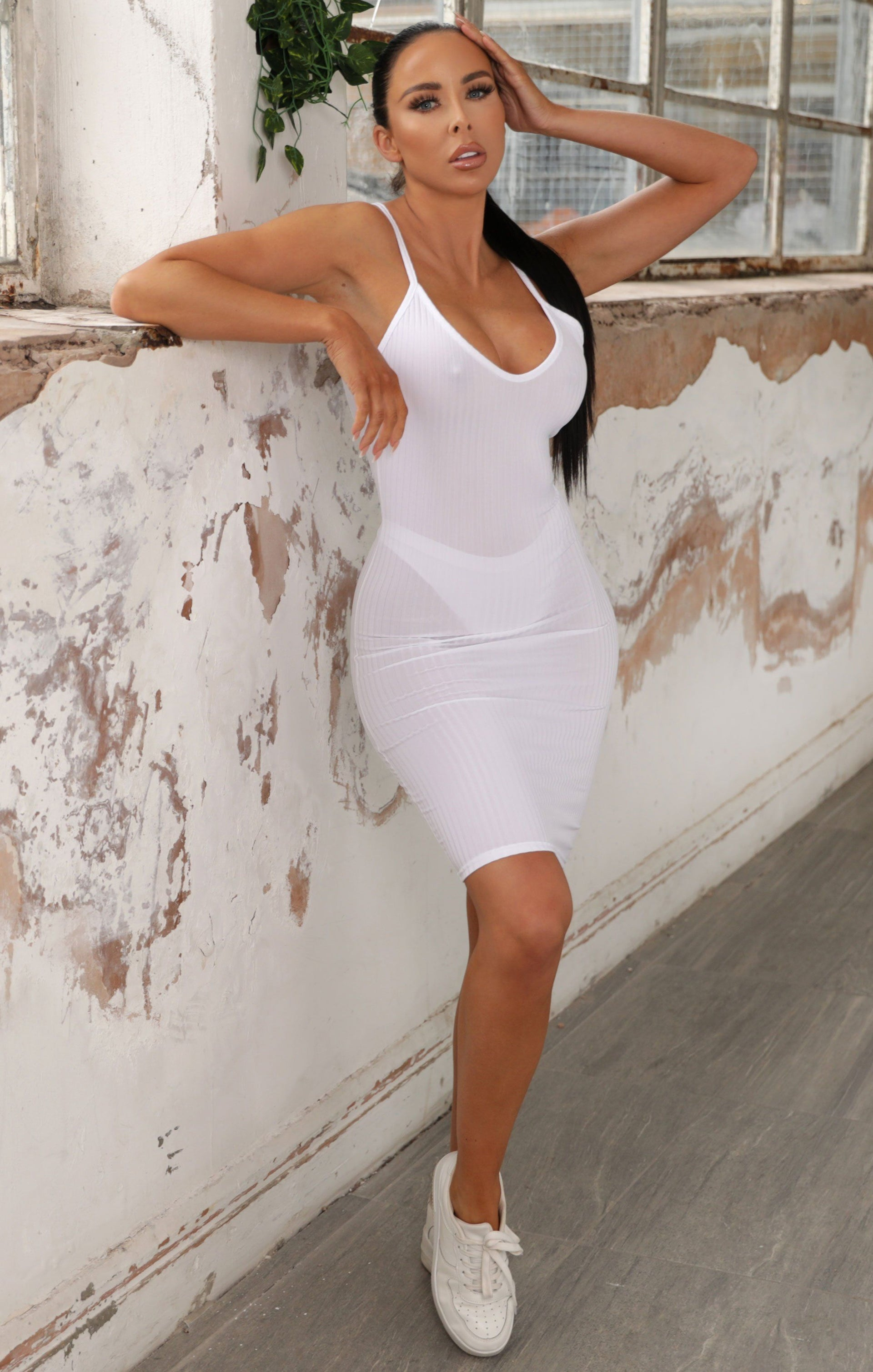 White Ribbed Dress - Darcy