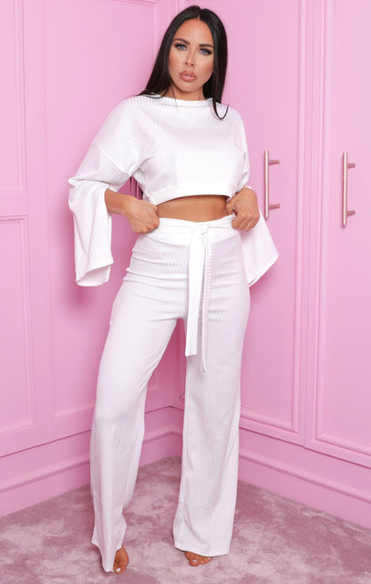 White Ribbed Flare Sleeve Loungewear - Neveah
