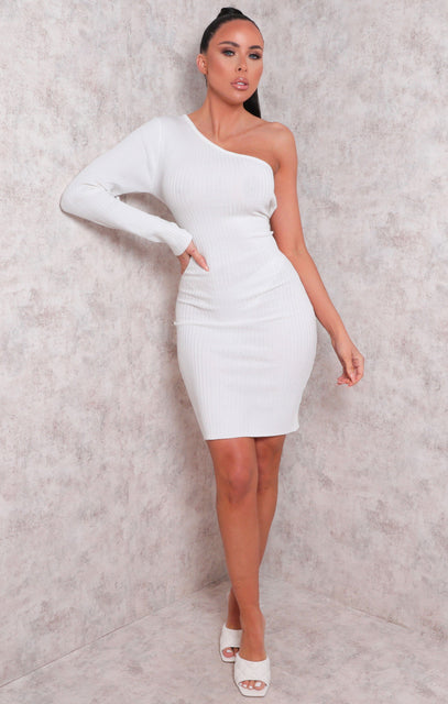 White Ribbed One Shoulder Bodycon Mini Dress - Sabrina