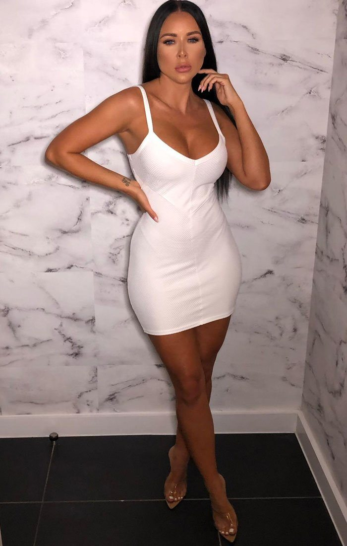 White Ribbed V Neck Cami Mini Dress - Markle