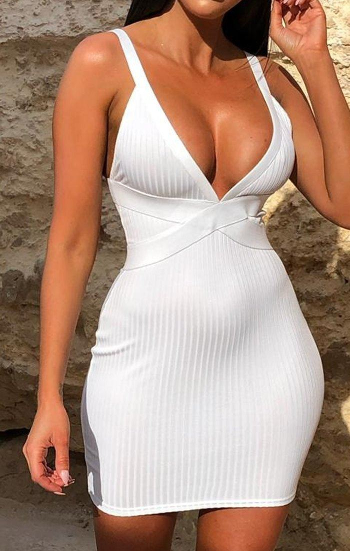 White Ribbed V Neck Mini Dress - Maryam