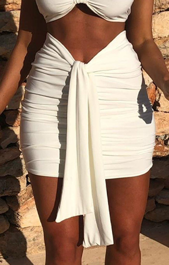White Ruched Knot Skirt - Carter