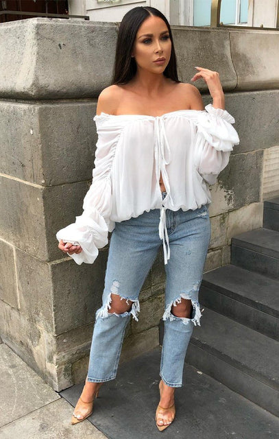 White Ruched Mesh Top - Alaina