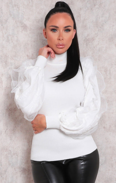 White Ruffle Organza Sleeve Ribbed Top - Franny