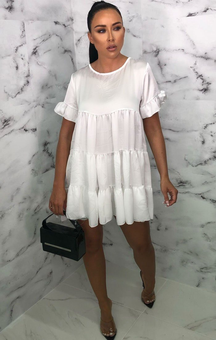 White Satin Babydoll Smock Dress - Alise