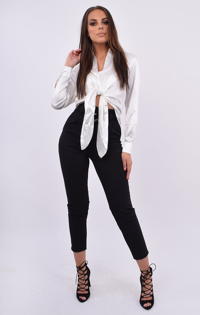 16c065ca5168 White Satin Button Up Tie Front Shirt | Tops | Femme Luxe UK