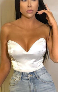 White Satin Low V Neck Bodysuit - Jolie