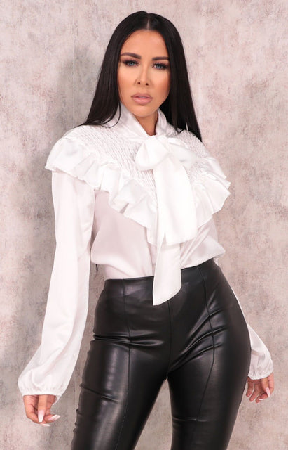 White Satin Shrilled Frill Long Sleeve Top - Zaynab