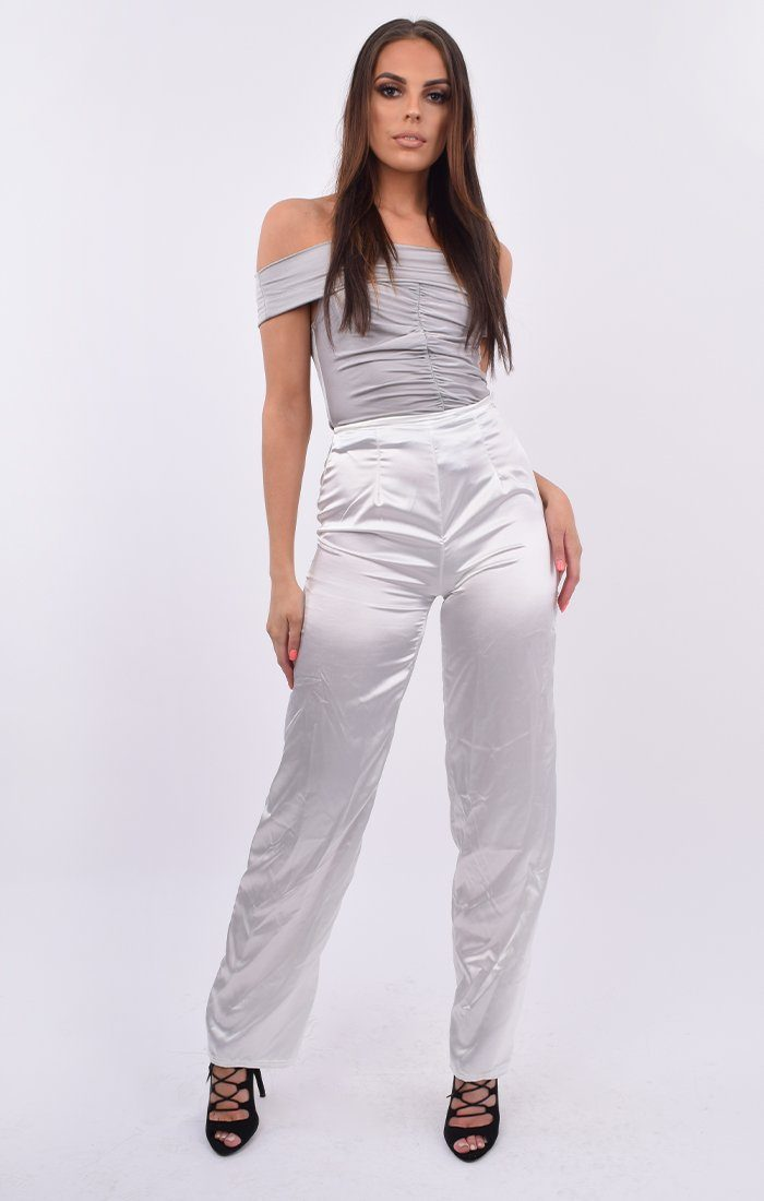 White Satin Wide Leg Trousers - Nia
