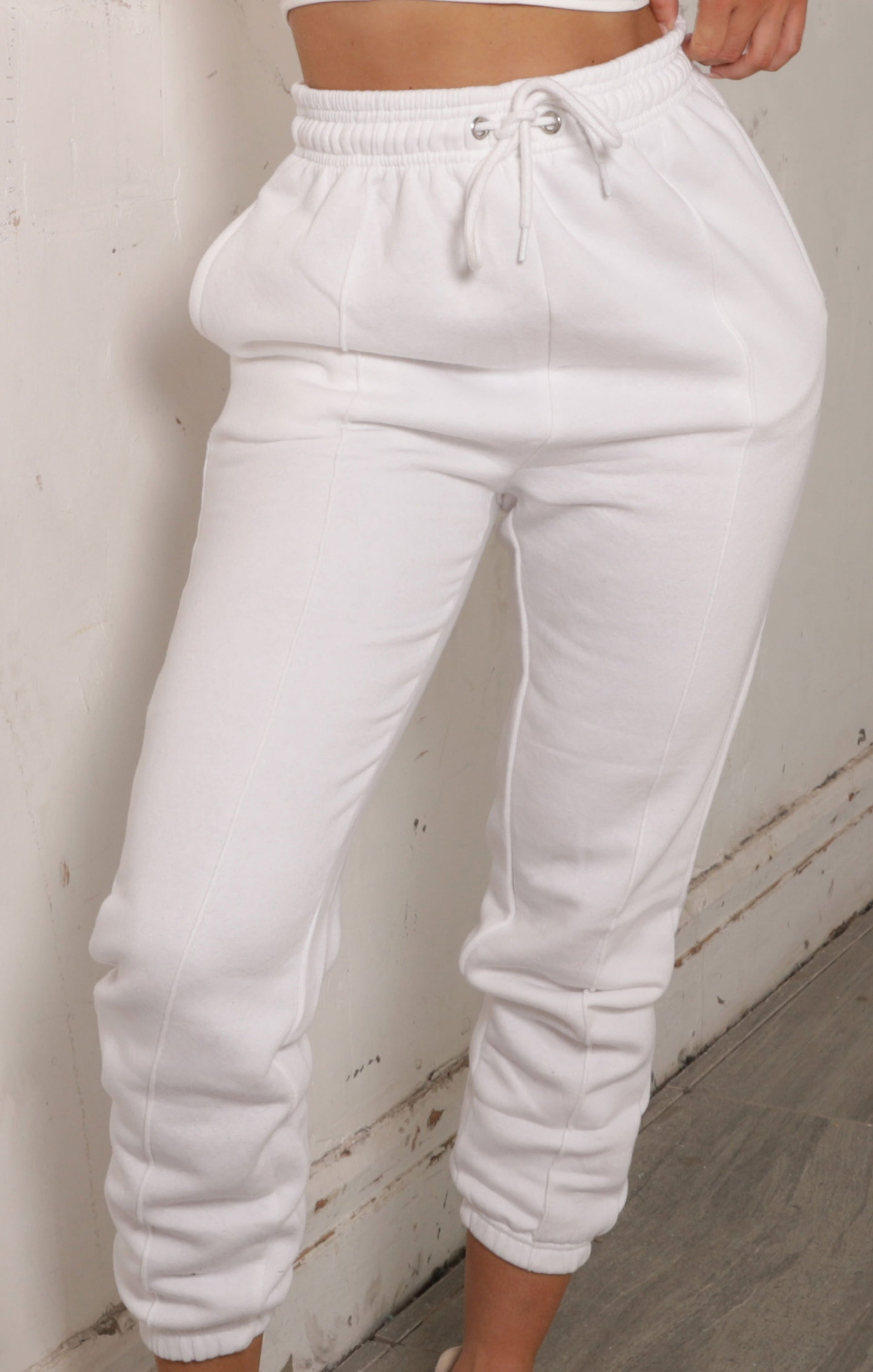 White Seam Detail Cuffed Joggers - Francesca