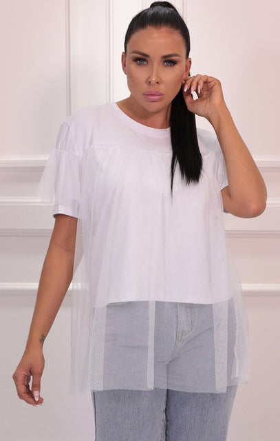 White Short Frill Sleeve Extreme Mesh Top - Donnie