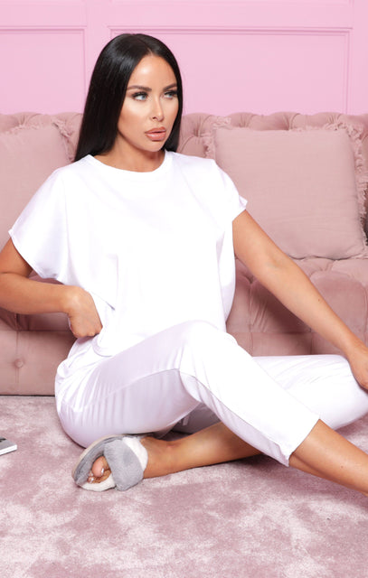 White Short Sleeve Boxy Loungewear Set - Lacy