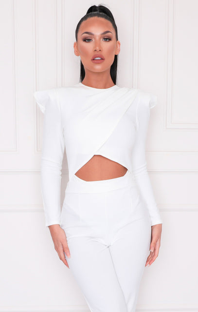 White Shoulder Pads Cut Out Bodysuit - Effie