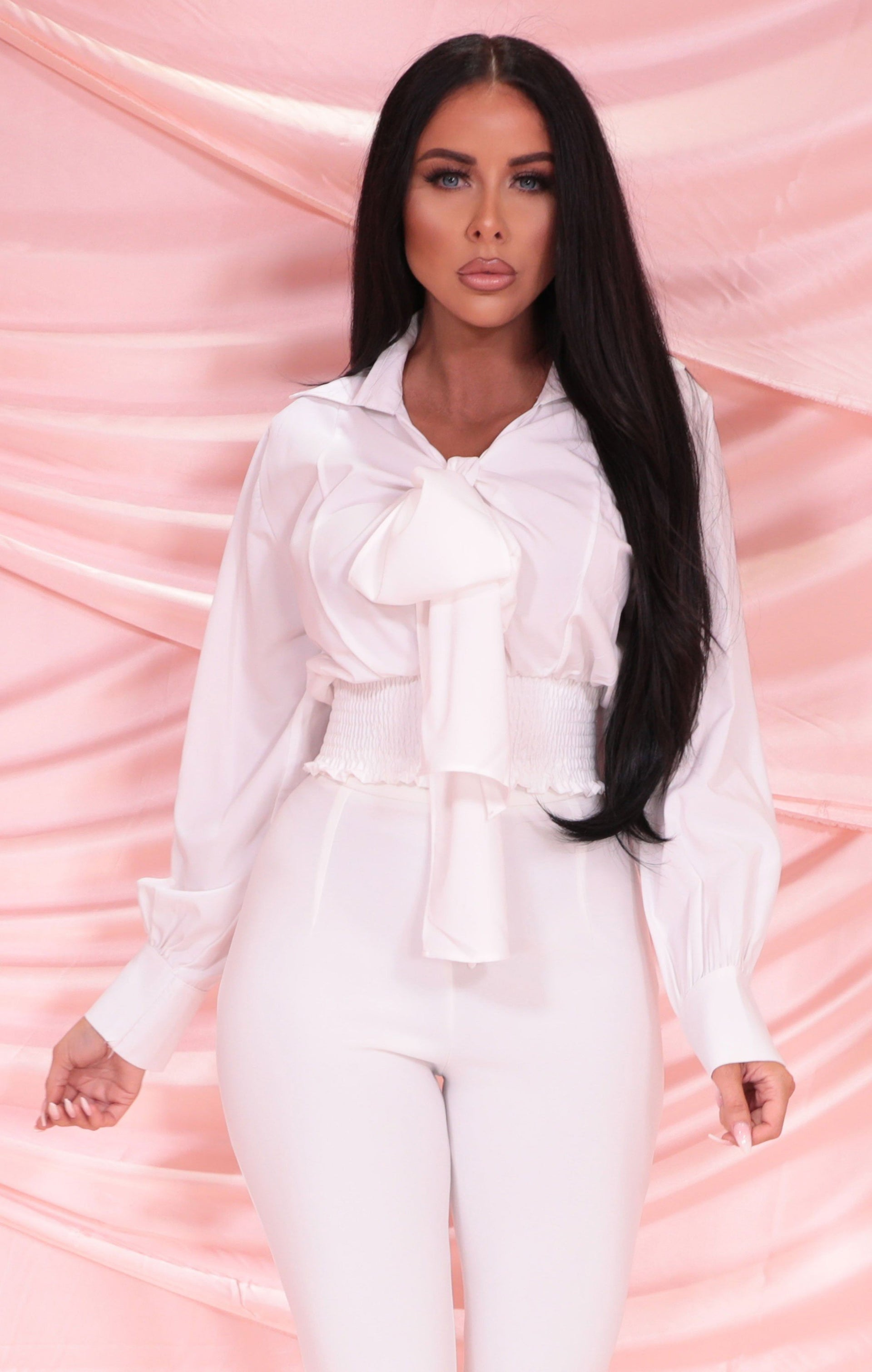 White Shrilled Waist Cuffed Tie Front Top - Balin