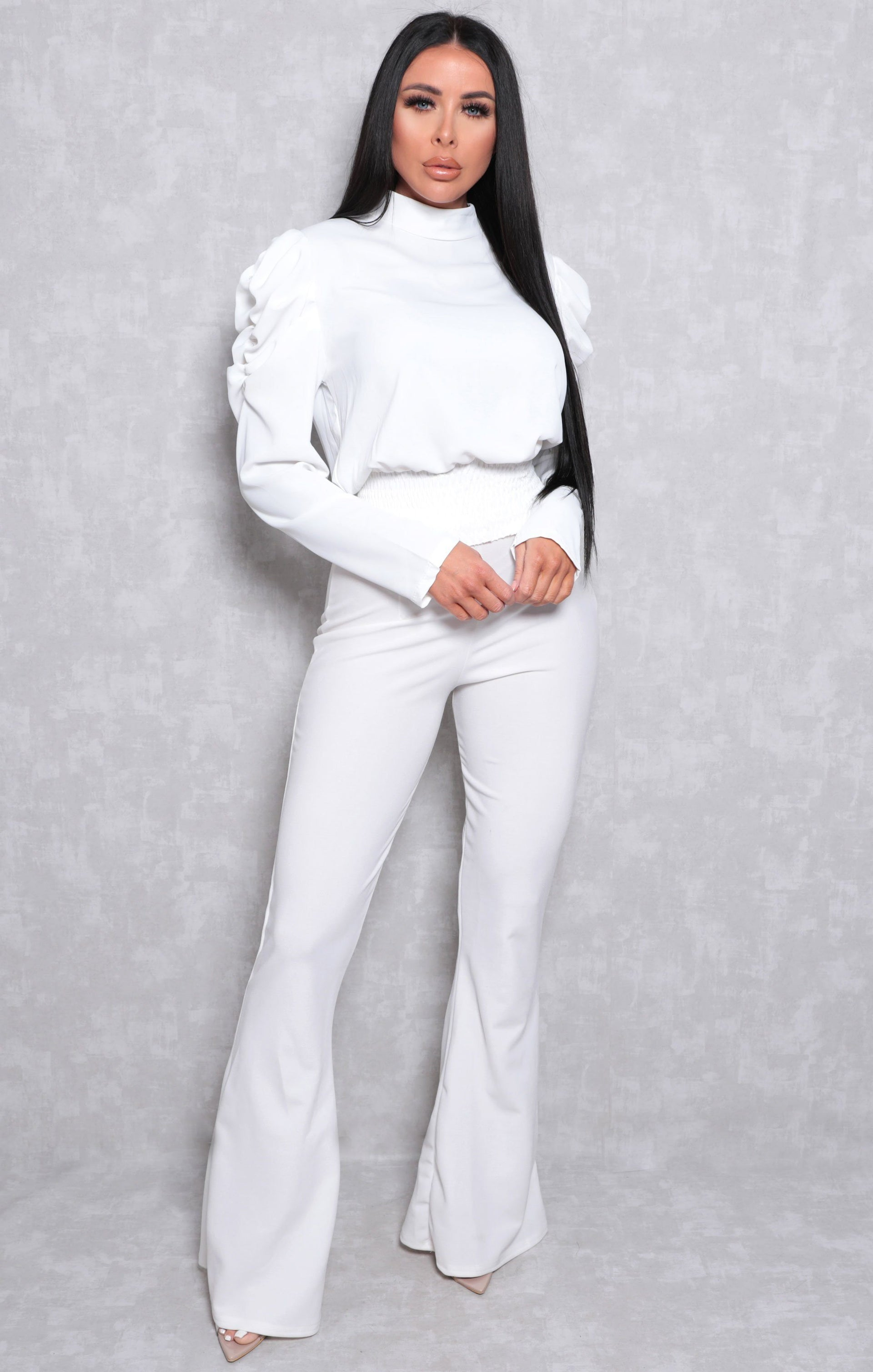 White Shrilled Waist Long Sleeve Top - Theo