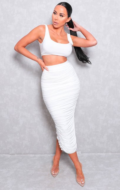 White Slinky Ruched Split Midi Skirt Co-ord - Amber