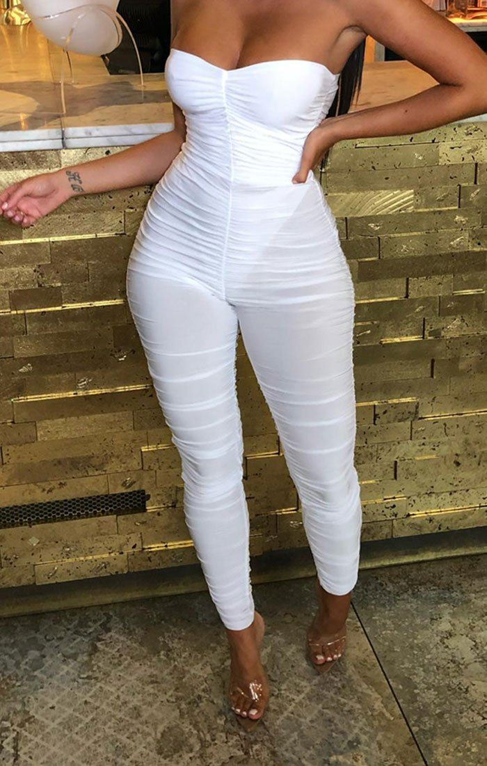 White Slinky Ruched Strapless Jumpsuit - Emory