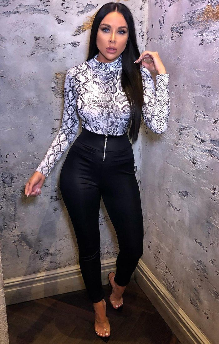 White Snake Print High Neck Bodysuit - Alina