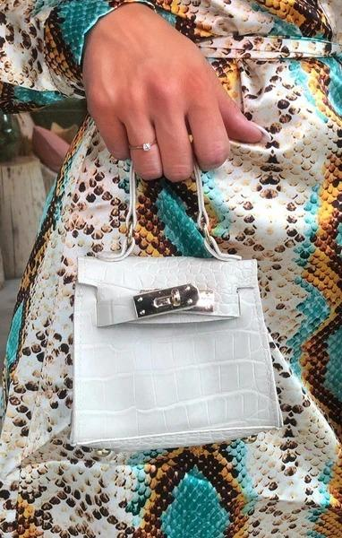 White Snake Print Micro Mini Bag - Laura