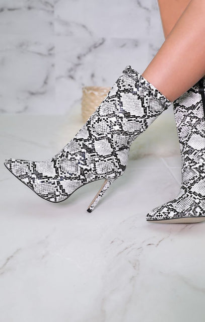 White Snake Print Pointed Heel Boots - Lea