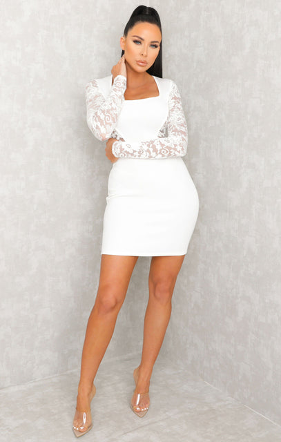 White Square Neck Lace Sleeves Dress - Niamh