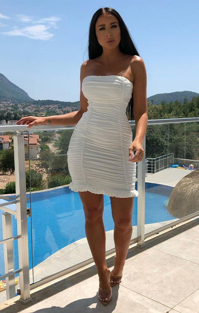 White Strapless Ruched Dress - Rebekah