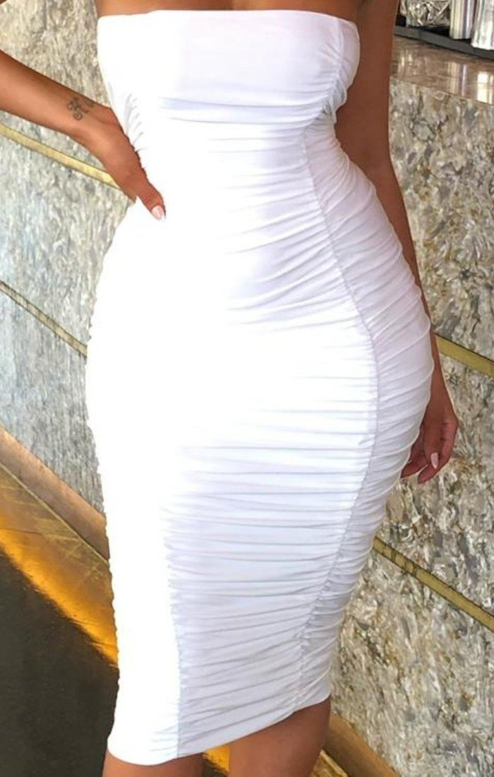 White Strapless Ruched Midi Dress - Salma