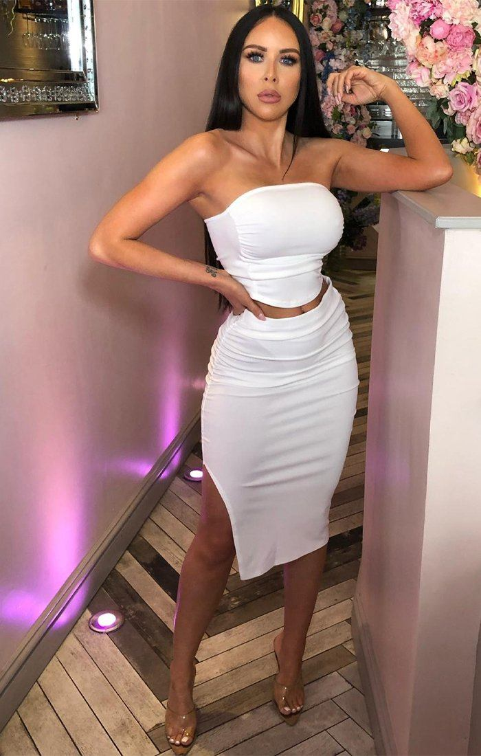 White Strapless Top And Split Skirt Co-ord - Amera